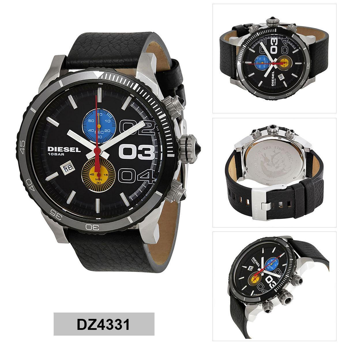 สิงห์บุรี Authentic Diesel Black Stainless-Steel Case Leather Strap Mens DZ4331 2 Years Warranty