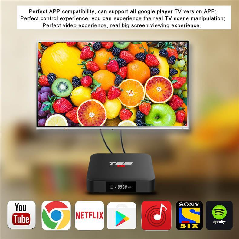 (Pre-installed Channels/Movies Apps) PULIERDE T95 S1 Android 7 1 Smart TV  BOX 2GB 16GB Amlogic S905W Quad Core WiFi 4K Media Player TV Box Voice