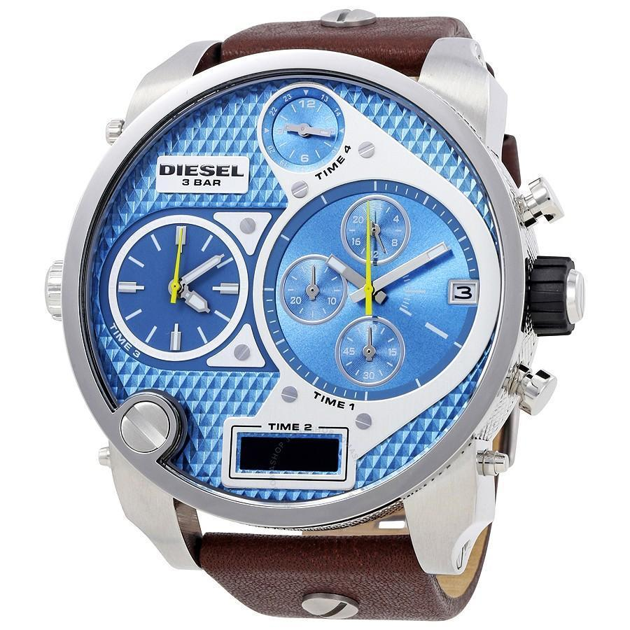 การใช้งาน  ตาก Diesel_Mr Daddy Sky Blue Dial 57mm Quartz Chronograph Dual-Time Men s Brown Leather Strap Watch DZ7322