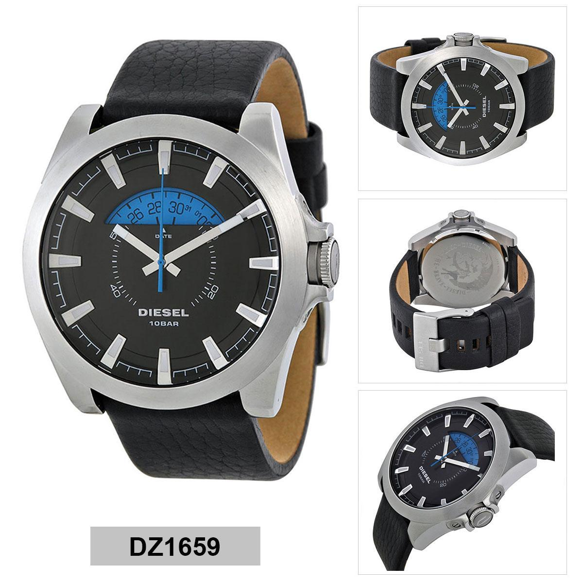 อำนาจเจริญ Authentic Diesel Black Stainless-Steel Case Leather Strap Mens DZ1659 2 Years Warranty