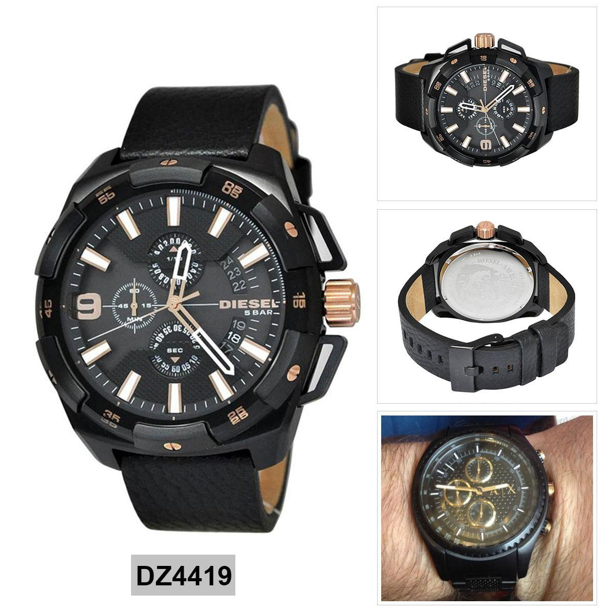 การใช้งาน  อุตรดิตถ์ Authentic Diesel Heavyweight Chronograph Black Stainless-Steel Case Leather Strap Mens DZ4419 2 Years Warranty