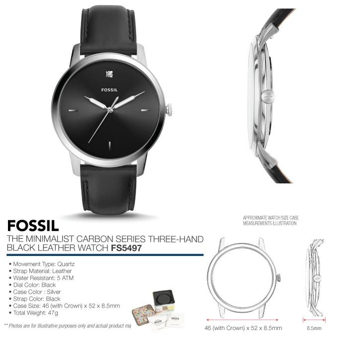 ff740c9c5 Fossil Men's The Minimalist Carbon Series Three Hand Black Leather ...