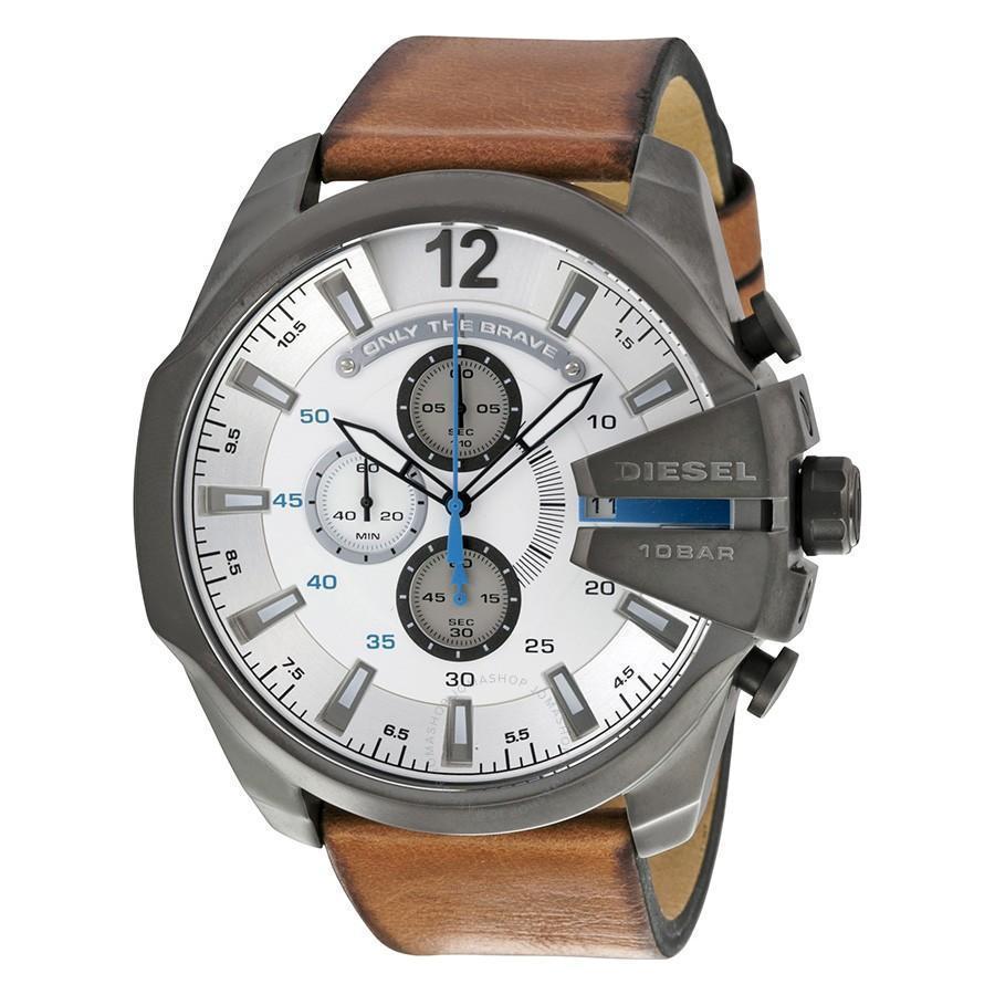 ยี่ห้อไหนดี  ชัยนาท Diesel_Mega Chief Antique White Dial 51mm Quartz Men s Chronograph Brown Leather Strap Watch DZ4280