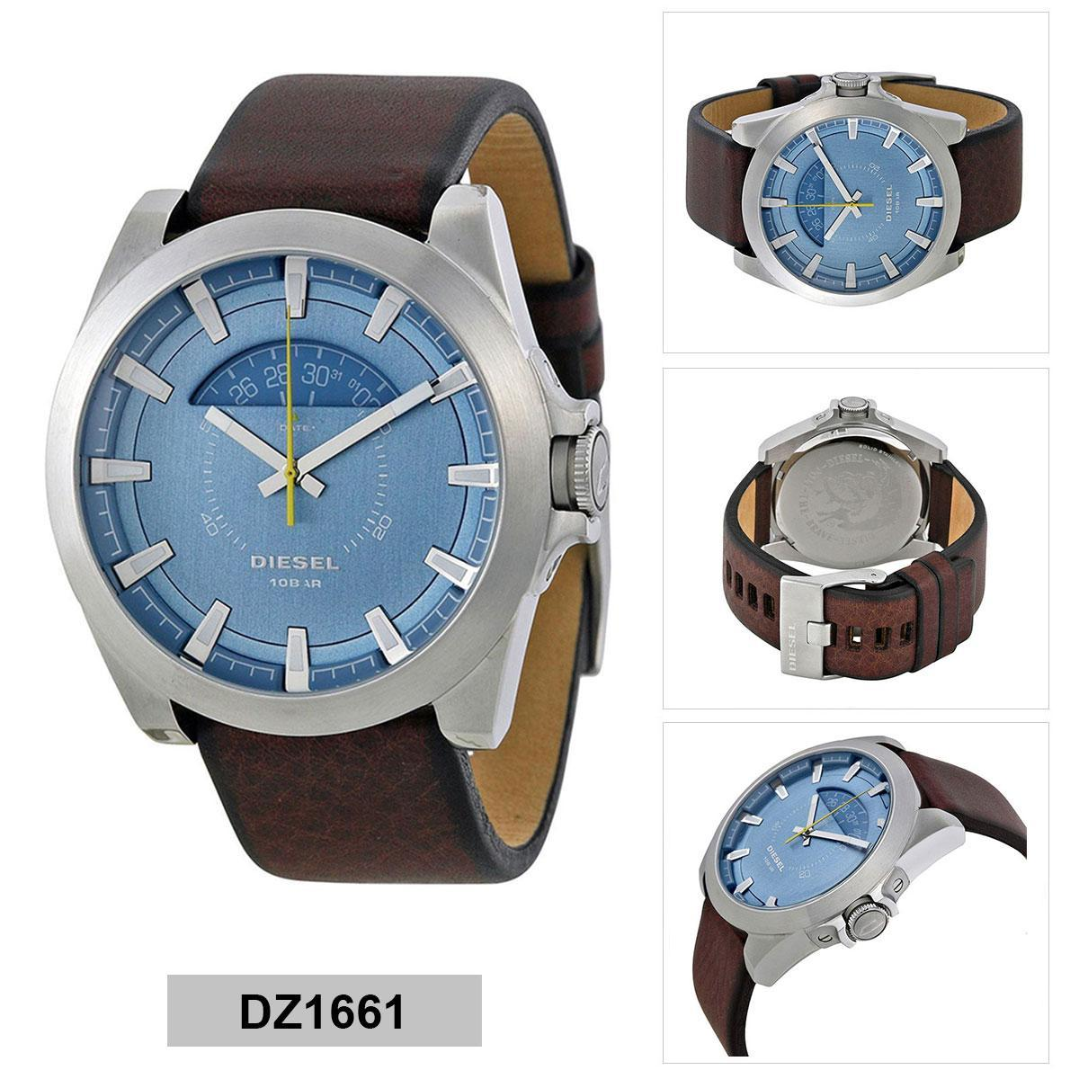 ยี่ห้อไหนดี  เพชรบุรี Authentic Diesel Brown Stainless-Steel Case Leather Strap Mens DZ1661 2 Years Warranty
