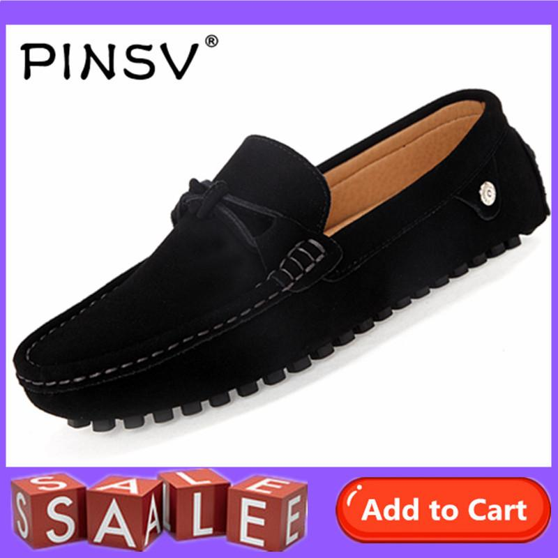 PINSV Suede Men's Flats Shoes Casual Loafers Slip-On (Black)