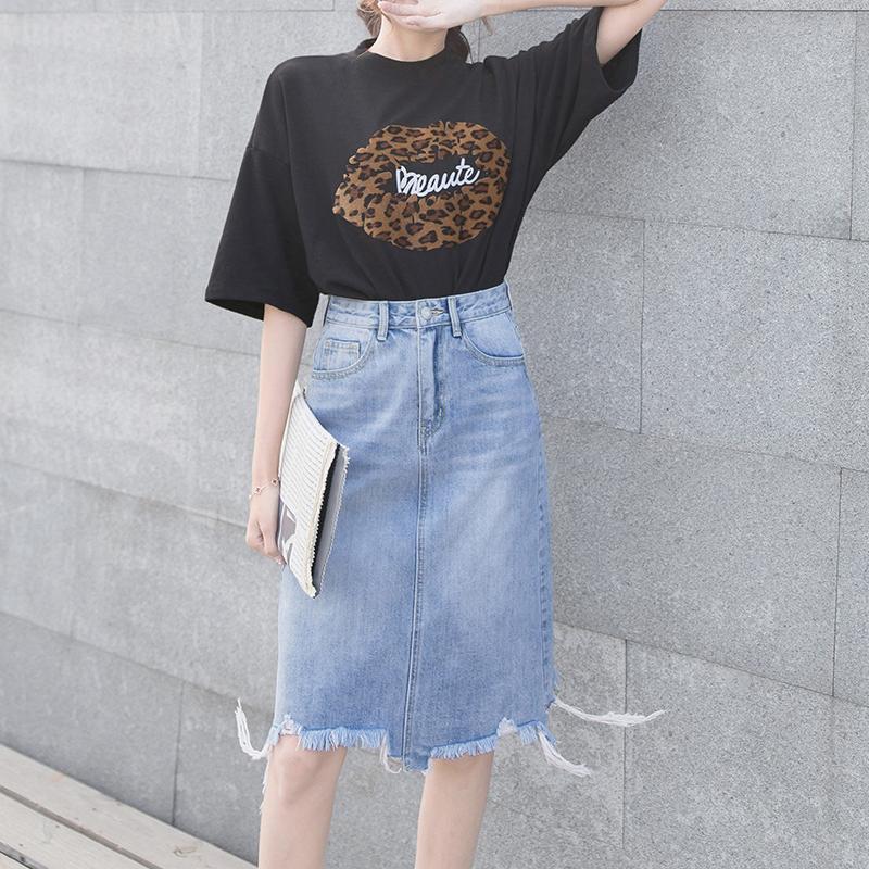 2019 Mẫu Mới Váy Bò Nữ Kiểu Lửng Từ Một Chiếc Váy Ngắn Cạp Cao Qua Đầu Gối Ôm Mông Mùa Hè Và Mùa Thu Không Thường Xuyên Chân Váy Váy