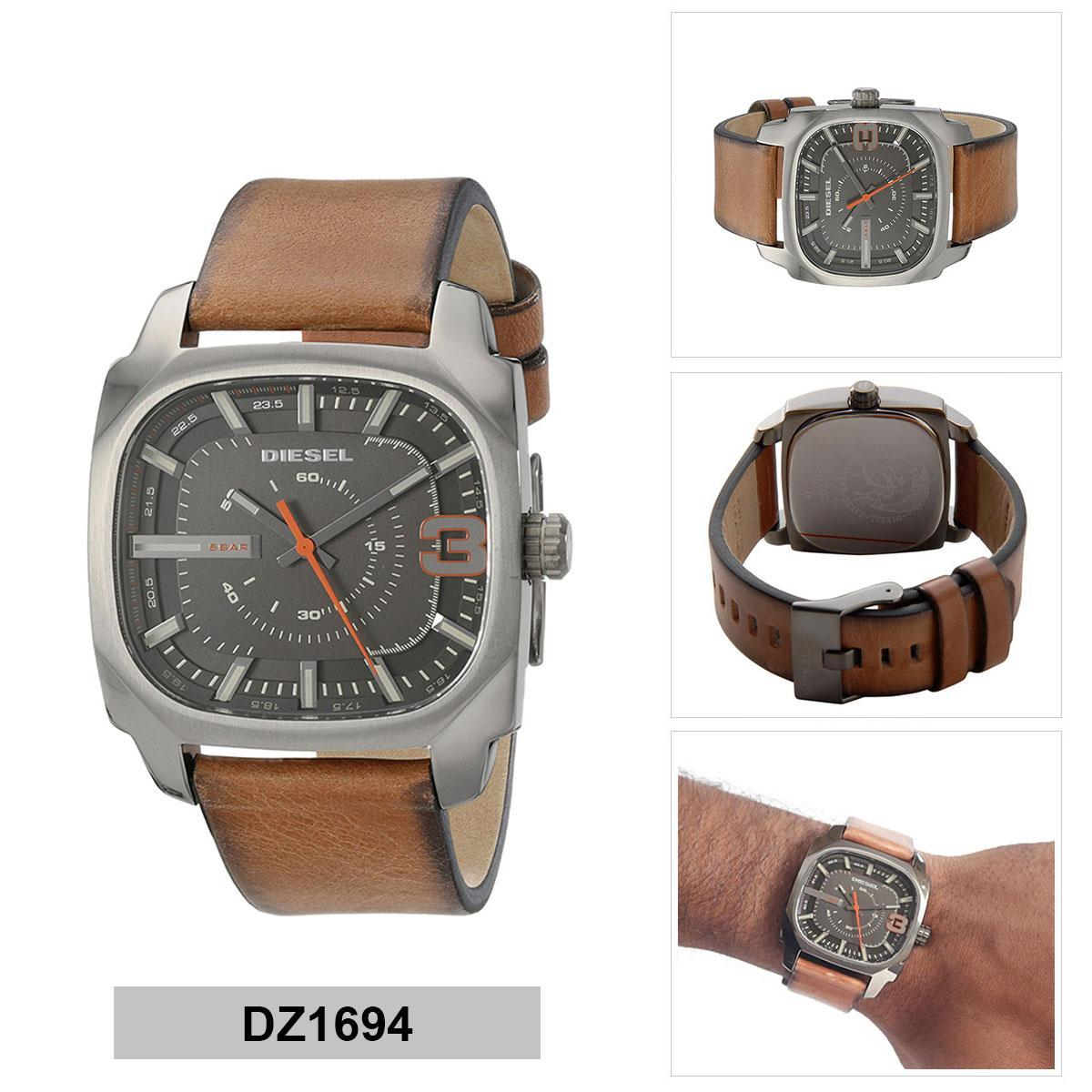 การใช้งาน  พิจิตร Authentic Diesel Shifter Brown Stainless-Steel Case Leather Strap Mens DZ1694 2 Years Warranty