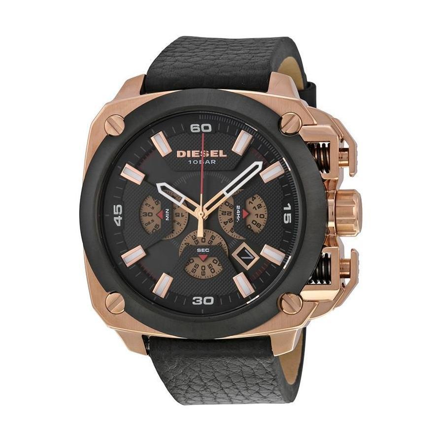 ยี่ห้อไหนดี  ปทุมธานี Diesel_BAMF Men Black 55.7mm Dial Black Leather Strap Chronograph Quartz Watch DZ7346