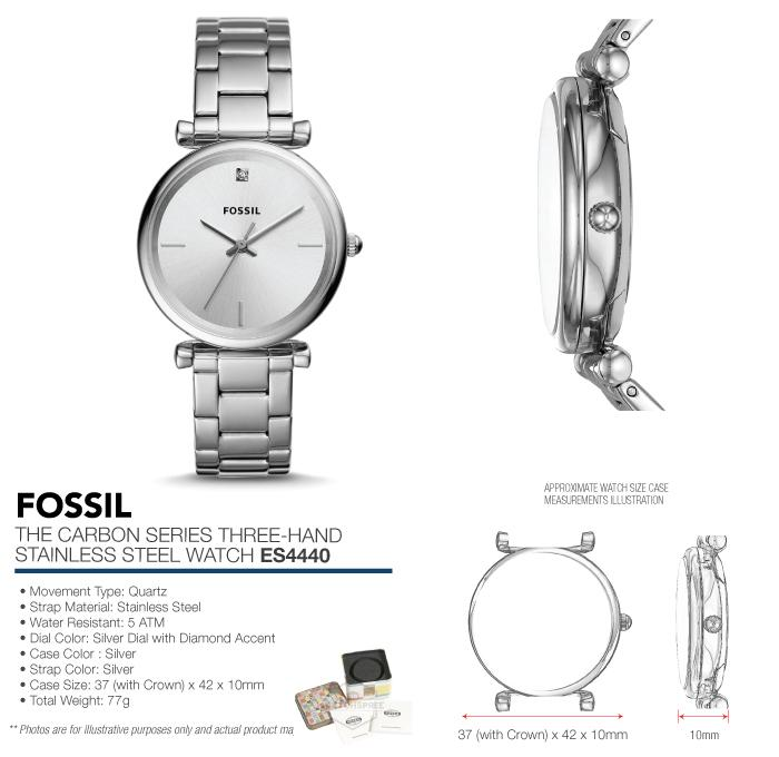 c1eb4746d Fossil Ladies' The Carbon Series Three Hand Stainless Steel Watch ...