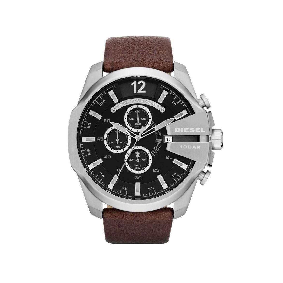 ยี่ห้อไหนดี  นครพนม Diesel_Mega Chief Black Dial 51mm Quartz Chronograph Men s Brown Pigskin Leather Strap Watch DZ4290