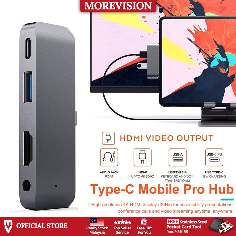 4 in 1 USB Type-C Mobile Pro Hub with USB-C PD Charging 4K HDMI USB 3.0 & 3.5mm Headphone Jack Adapter For iPad Pro