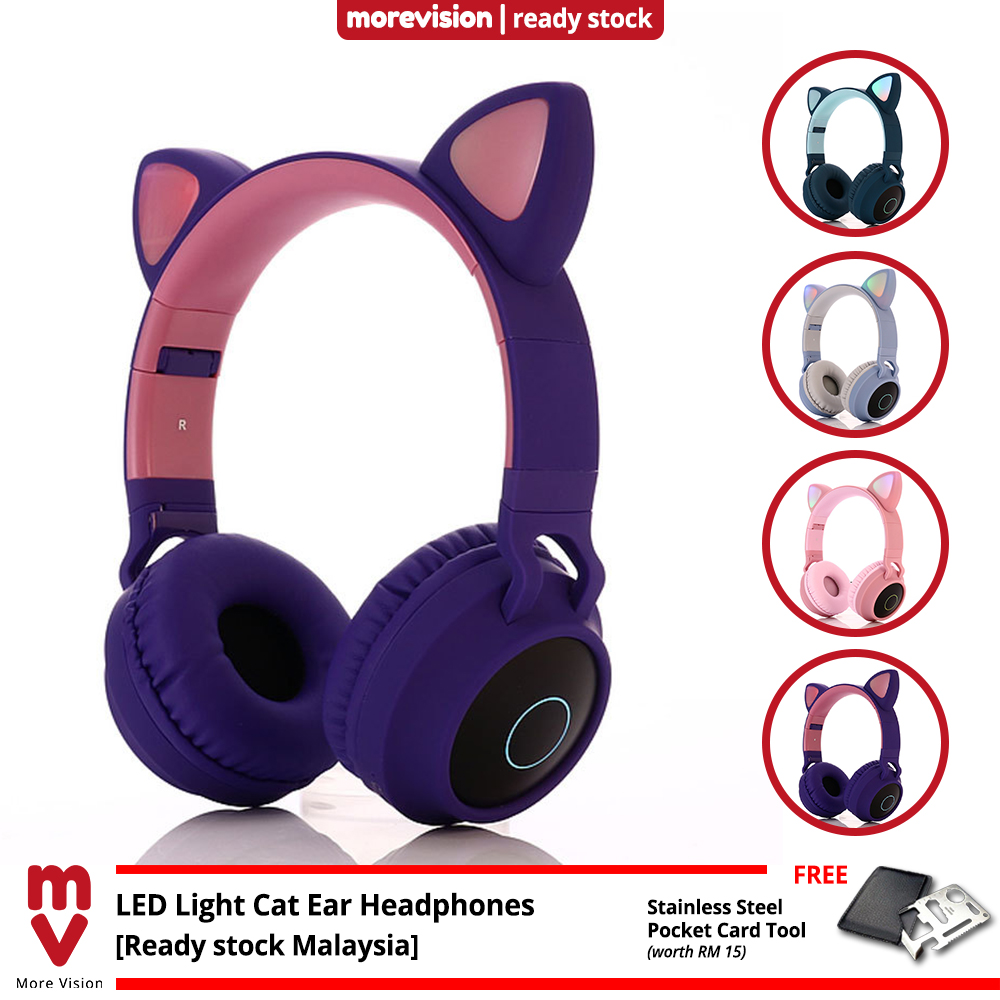 Bluetooth 5.0 LED Light Cat Ears Headset Wireless Earphone Stereo Bass Headphones HIFI TF SD Card 3.5mm Microphone