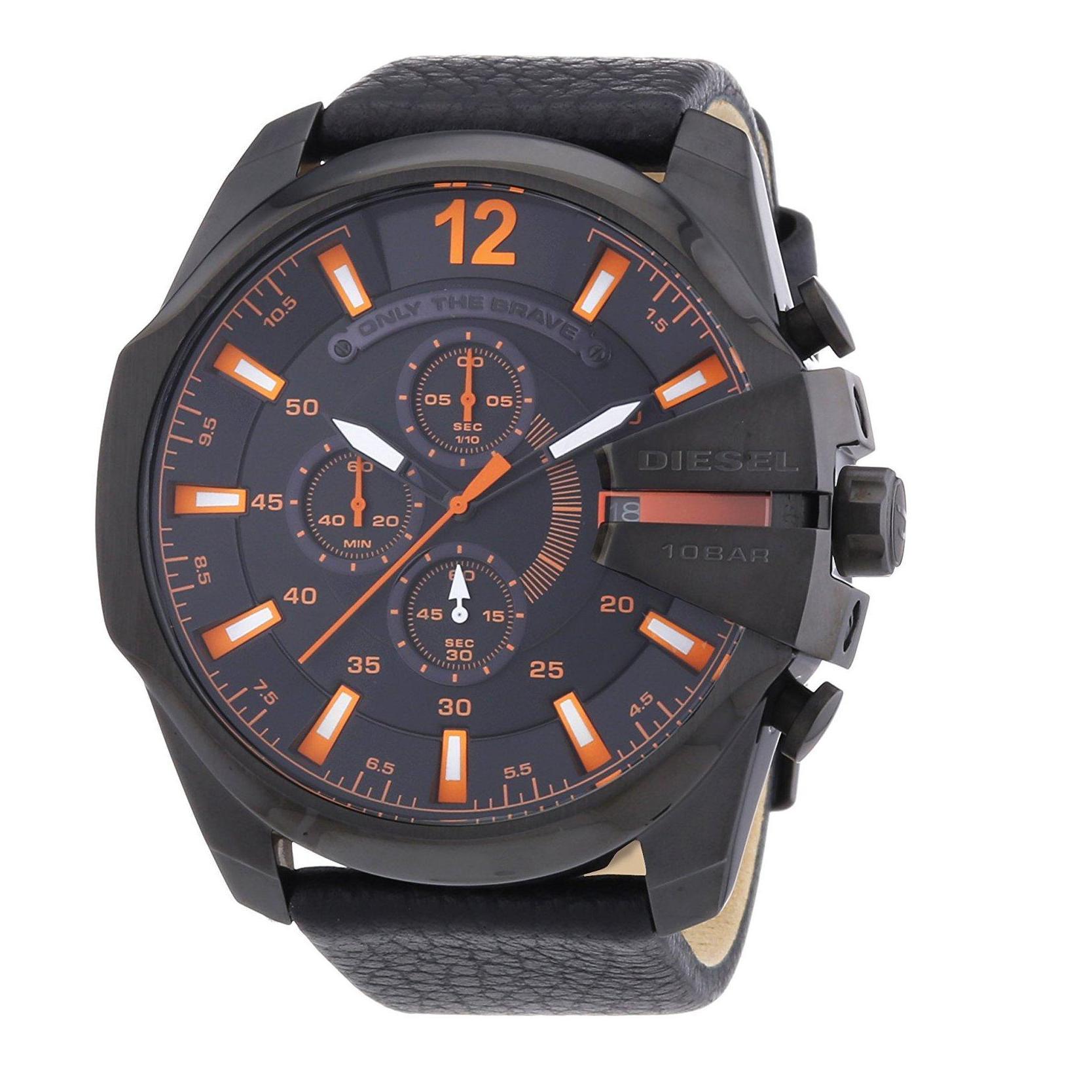 การใช้งาน  นครนายก Diesel_Mega Chief Black Dial 51mm Quartz Chronograph Luminous Men s Black Leather Strap Watch DZ4291