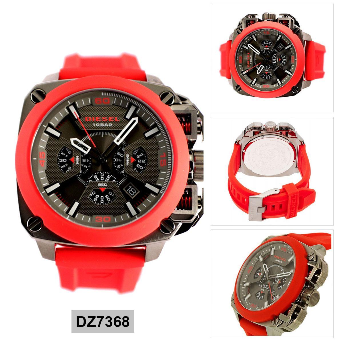 ยี่ห้อนี้ดีไหม  เชียงใหม่ Authentic Diesel Red Stainless-Steel Case Silicone Strap Mens DZ7368 2 Years Warranty