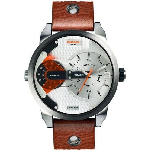 เพชรบุรี Diesel_Mini Daddy Dual Time White Dial 46mm  Quartz Men s Brown Leather Watch Strap DZ7309
