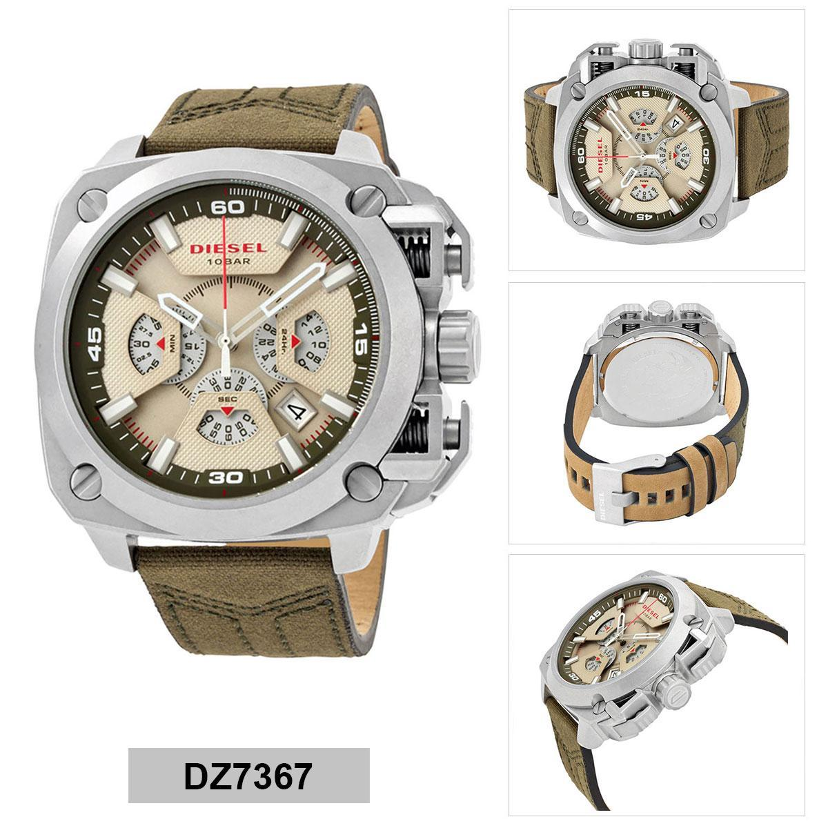 ยโสธร Authentic Diesel BAMF Green Stainless-Steel Case Leather Strap Mens DZ7367 2 Years Warranty