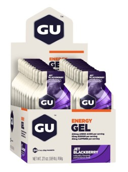 GU Energy Gel Jet BlackBerry 24 Pack With Free Gift